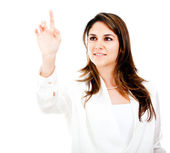 Businesswoman touching with finger — Stock Photo