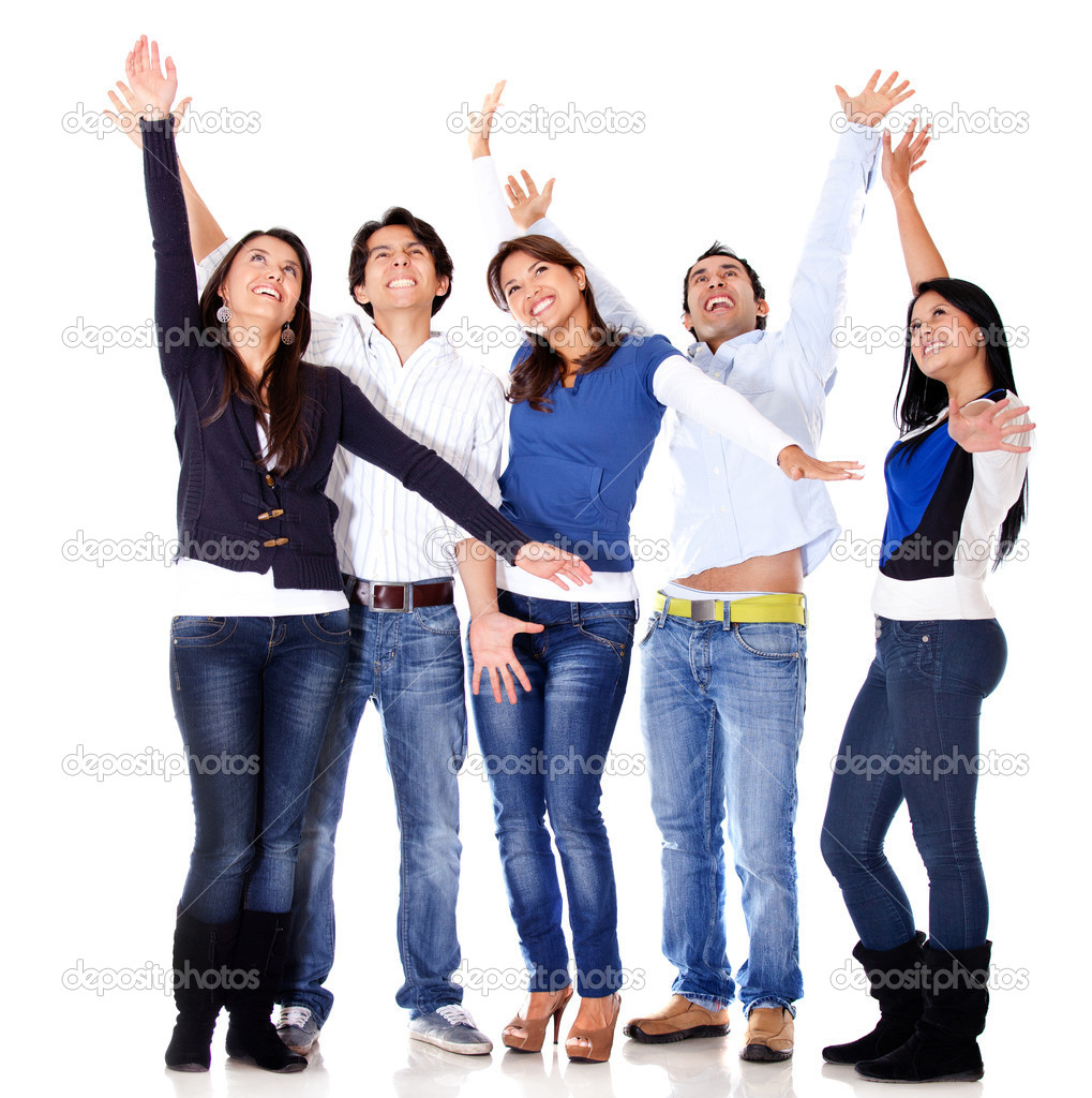 Happy group of celebrating - isolated over a white background — Stock Photo #10248309
