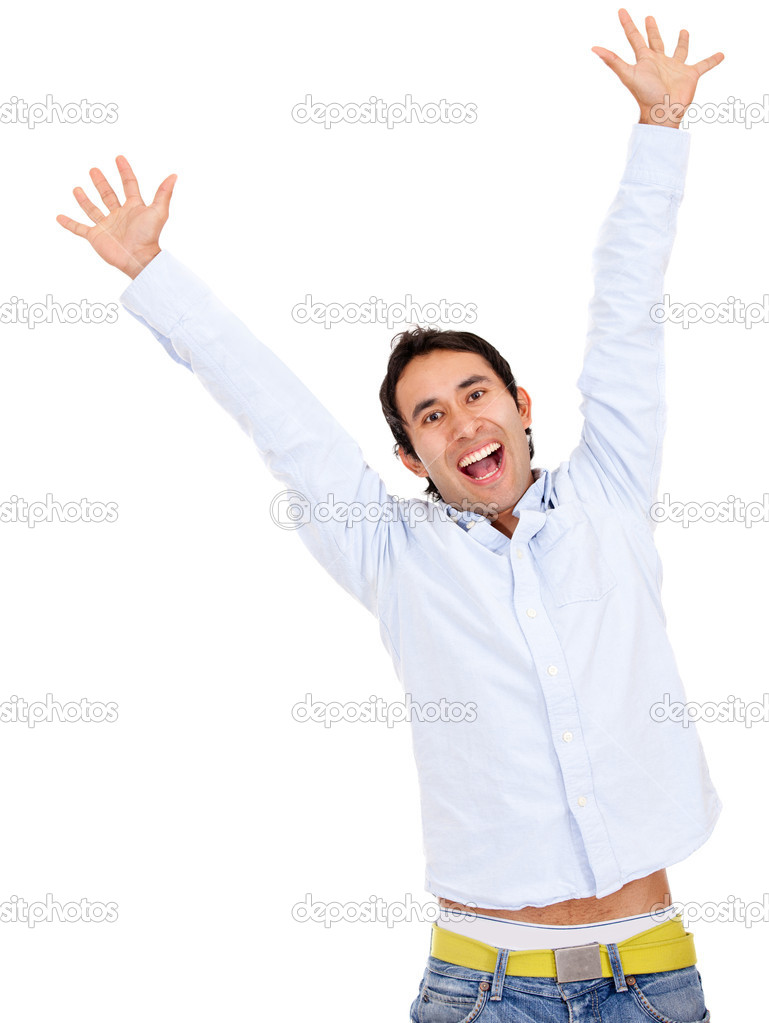 Happy man celebrating - isolated over a white background — Stock Photo #10248321