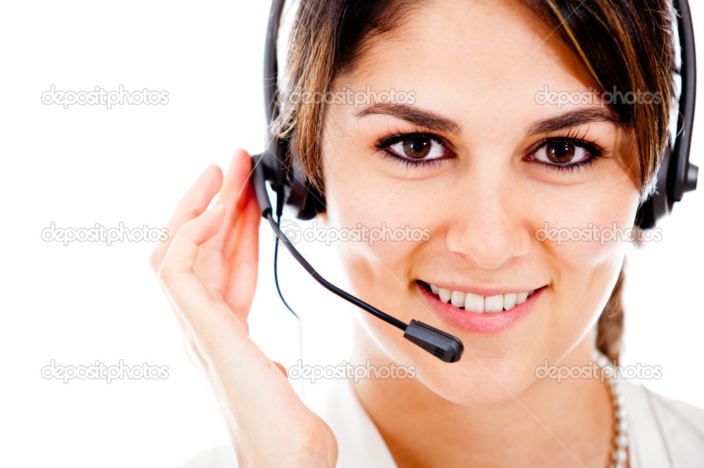 Female customer support operator with headset and smiling — Stock Photo #10248326