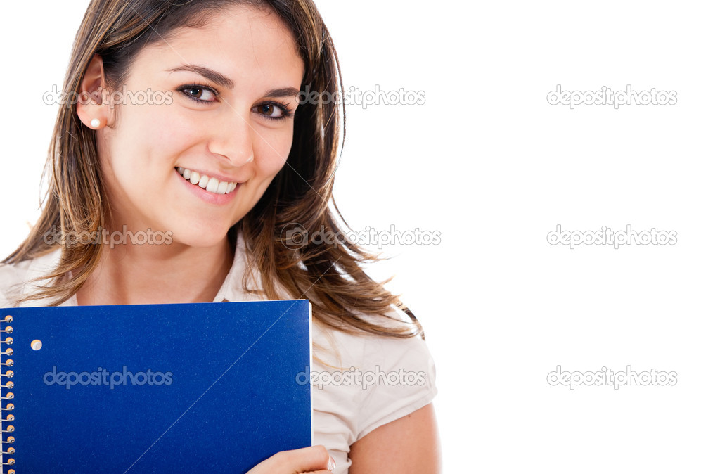 Education portrait of a woman holding notebook - isolated — Stock Photo #10248344