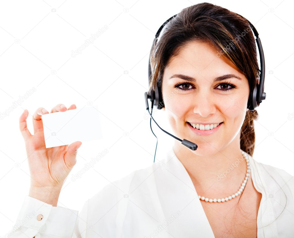 Woman from a contact center holding a card Ð isolated — Stock Photo #10267725