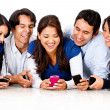 Stock Photo: Friends gossiping on cell phone