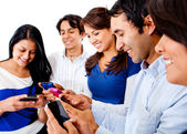 Friends text messaging — Stock Photo