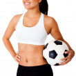 Woman with a soccer ball — Stock Photo