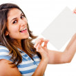 Stock Photo: Woman holding a paper