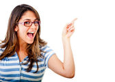 Excited woman pointing an idea — Stock Photo