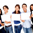 Group of holding banners — Stock Photo
