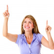 Woman pointing - Stock Photo