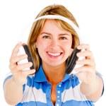 Woman with headphones — Stock Photo #10394262