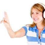 Woman with headphones — Stock Photo #10394264