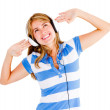 Woman excited about music - Stock Photo