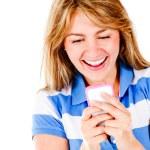 Happy woman texting — Stock Photo #10394270
