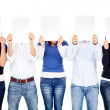 Covering face with banners — Stock Photo