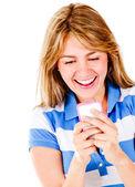 Happy woman texting — Stock Photo