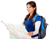 Woman with a map — Stock Photo