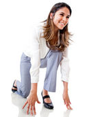 Businesswoman in position to run — Stock Photo