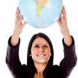 Woman holding a globe — Stock Photo