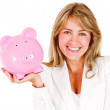 Businesswoman saving money — Stock Photo