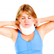 Stock Photo: Womwith neck injury