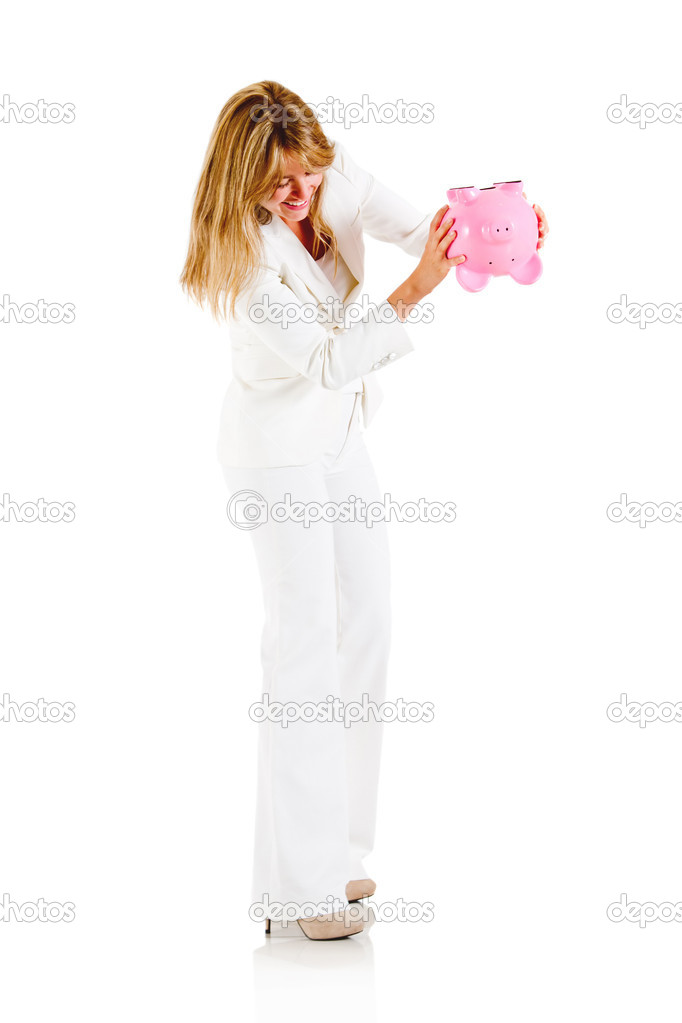 Woman emptying a piggybank - isolated over a white background — Stock Photo #10445495