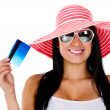 Stock Photo: Womplanning her vacations