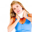 Woman with a neck injury - Stock Photo