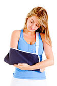 Woman with broken arm — Stock Photo