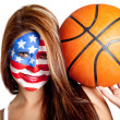 Stock Photo: American basketball fan
