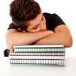 Foto Stock: Male student fallen asleep