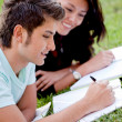 Students outdoors - Stock Photo