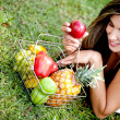 Stock Photo: Woman with fruits