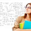 Maths female student - Stock Photo