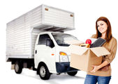 Woman moving house — Stock Photo