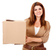Woman shipping a box — Stock Photo