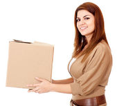 Woman delivering a package — Stock Photo