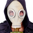 Stock Photo: Mwearing gas mask