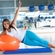 Stock Photo: Womdoing pilates
