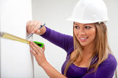 Architect taking measurements — Stock Photo