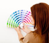 Woman with color guide — Stock Photo