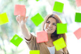 Woman with post-its — Stock Photo