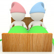 3D couple in bed — Stock Photo