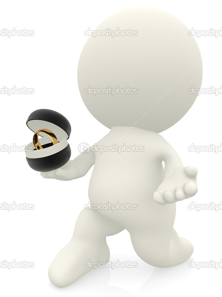 3D man proposing and holding a ring - isolated over a white background  Stock Photo #10634307