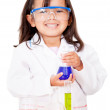 Girl doing experiments — Stock Photo