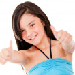 Girl with thumbs up — Stock Photo