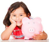 Little girl saving money — Stok fotoğraf
