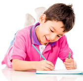 Boy coloring — Foto Stock