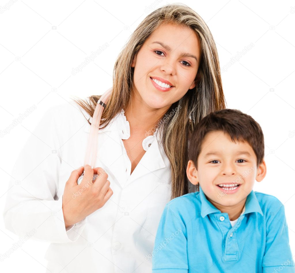 Pediatrician with a young patient - isolated over a white background — Stock Photo #10718262