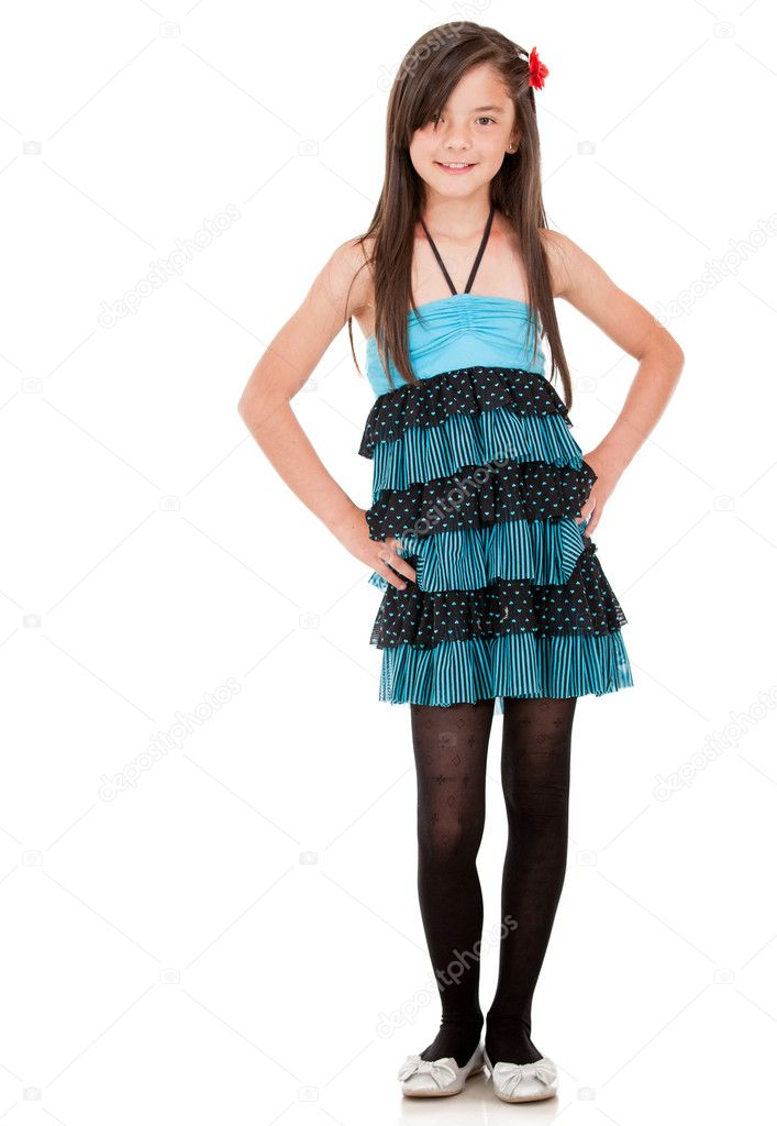 Young girl wearing a beautiful dress - isolated over a white background — Stock Photo #10734174