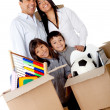 Family packing for moving — Stock Photo